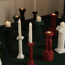 Load image into Gallery viewer, Roman Venus Column Ceramic Candle Holders in White Black Green and Red