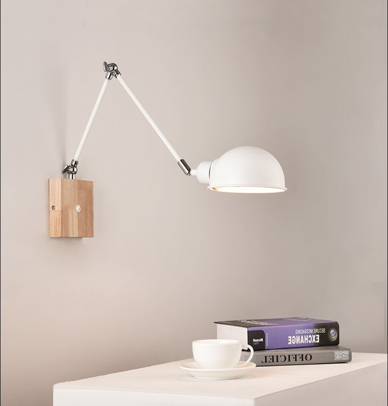 modern office wall lamp metal light in white and wood