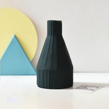 Load image into Gallery viewer, Morandi Ceramic Flower Vase minimalist art dark green