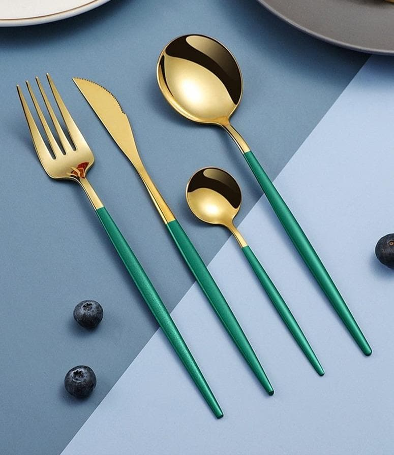 rainbow pastel metal flatware silver gold rose gold black