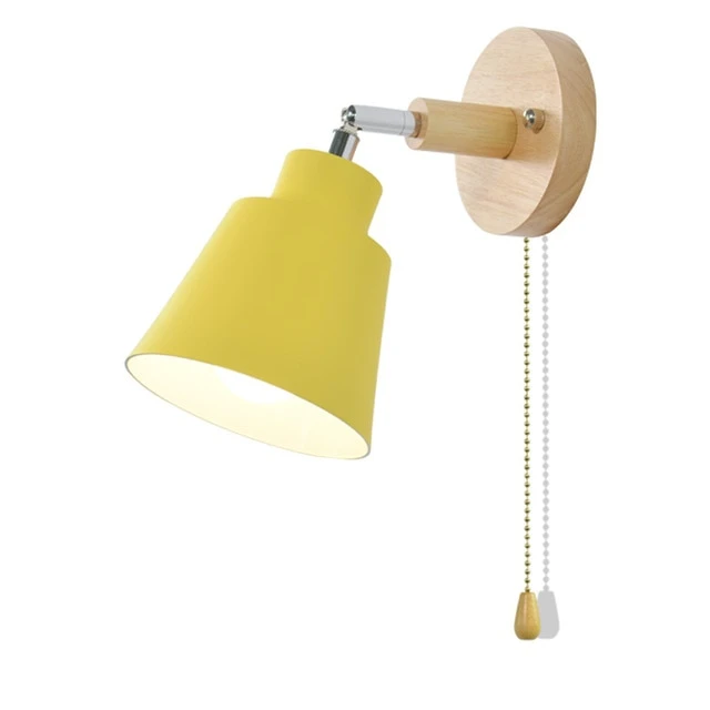 mid century reading yellow Wall Sconce with Pull Chain Switch