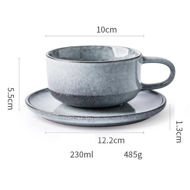 Creative Porcelain Coffee Cup Milk Ceramic European Red Tea Cups Set with Handle High quality Cement color