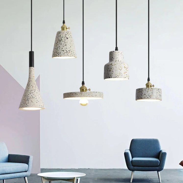 Modern Stylish Stone pendant lights in geometric shapes with black cord