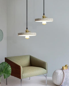 two Modern Stylish Stone pendant lights in geometric shapes with black cord