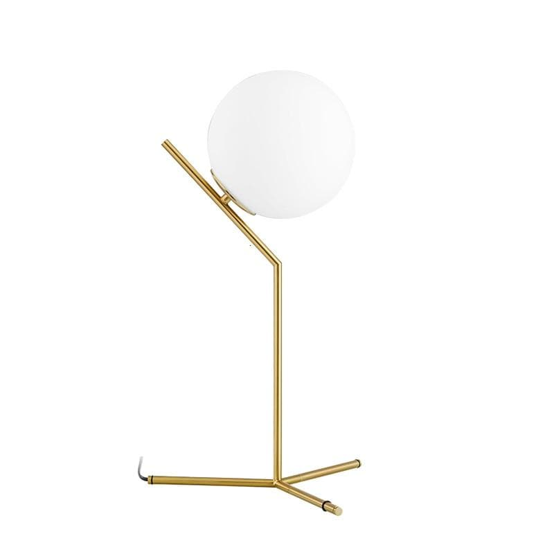 Post Modern Frosted Sphere Brass Table Lamp