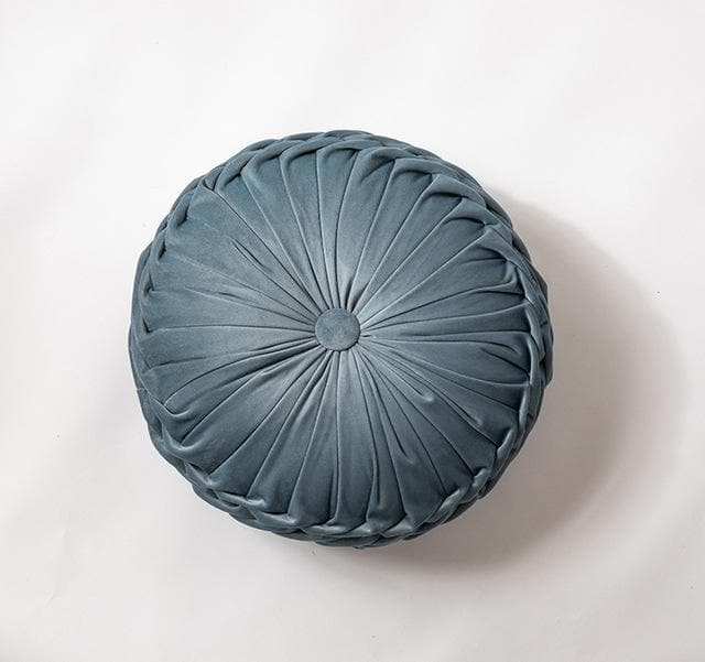 Round Cushion Soft Velvet Pillow Blue Solid Color Floor Pat 40x40cm Handcraft Home decoration Sofa Chair Car Decor