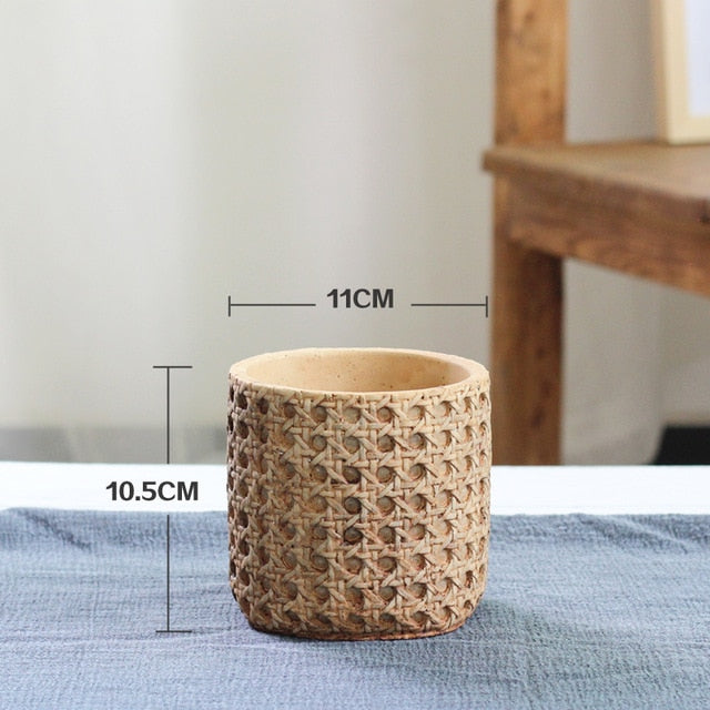 Retro Boho Natural Rattan Texture Cement Planter