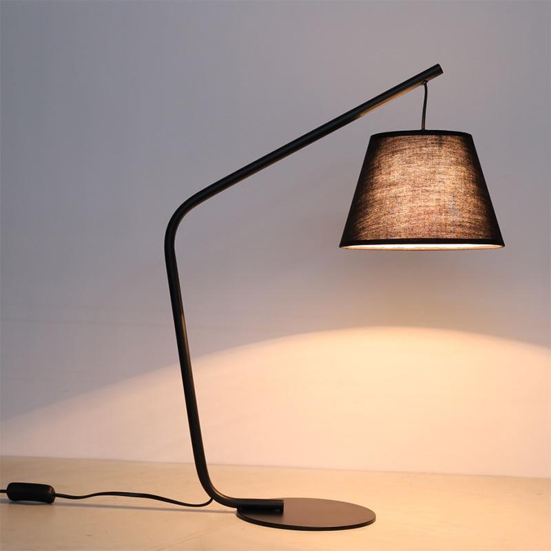 Black Linen & Metal LED Table & Floor Lamp Minimalist modern designer lamp
