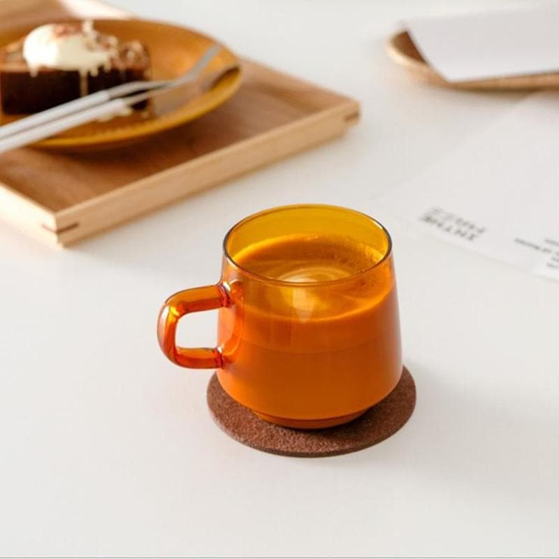 Coffee Latte Hand-made  Glass Cup Heat-resistant And High-temperature Household Mug Orange