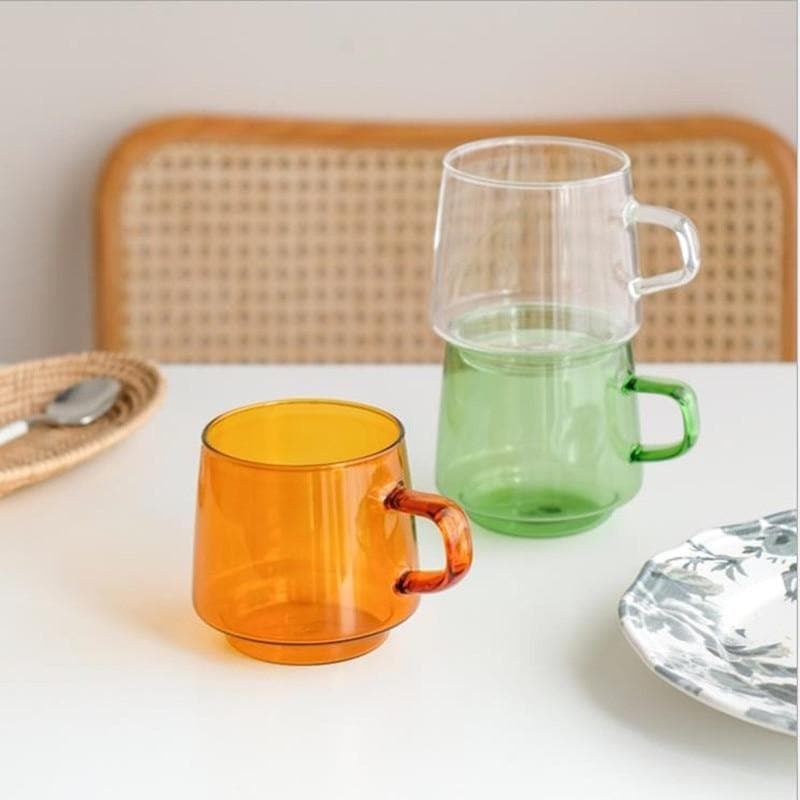 Coffee Latte Hand-made  Glass Cup Heat-resistant And High-temperature Household Mug Orange Green White