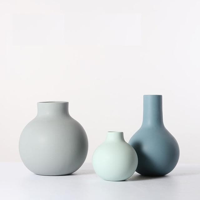 Shades of Blue Beige and Jade Ceramic Porcelain Round Vase Set Water Drop shape Modern Abstract