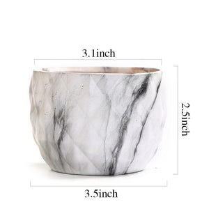 Modern Marbling Ceramic Planter Set 4 pc