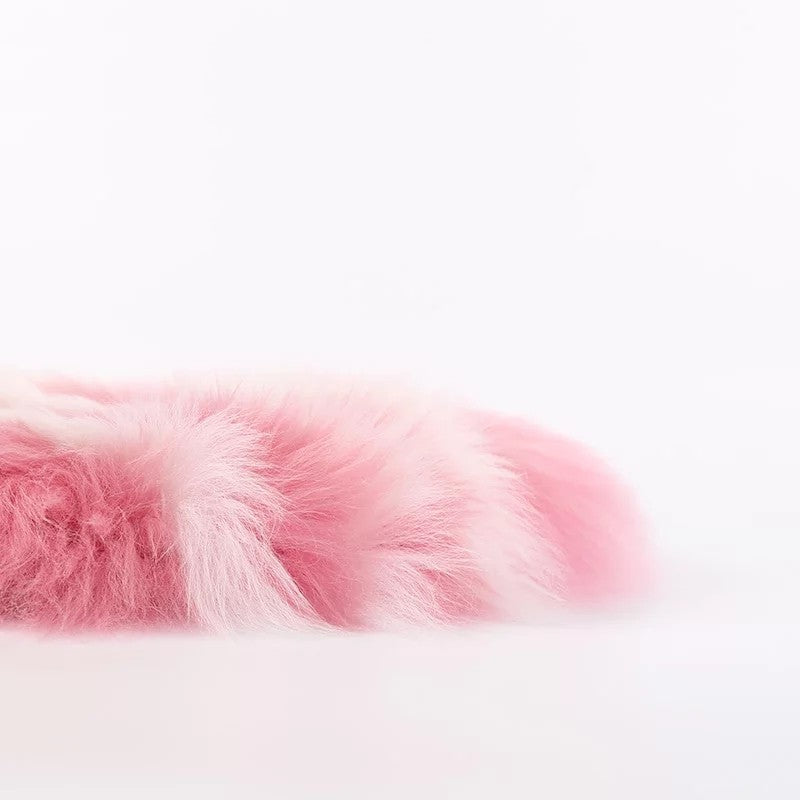 round pink and white wool sheepskin fur pillow