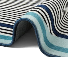 Load image into Gallery viewer, Modern Bauhaus Area Rug for Office, Room and Bedroom Decor Marina Cobalt stripe