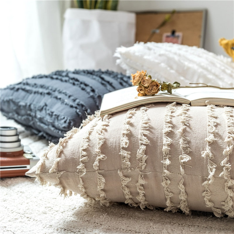 square Cotton, Polyester Embroidered tassel yellow white beige grey cushion cover with zipper