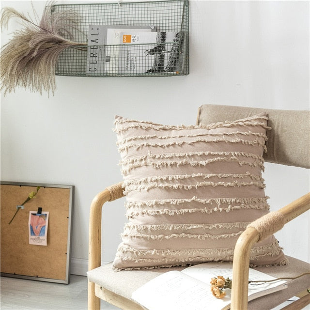 square Cotton Polyester Embroidered tassel beige cushion cover with zipper