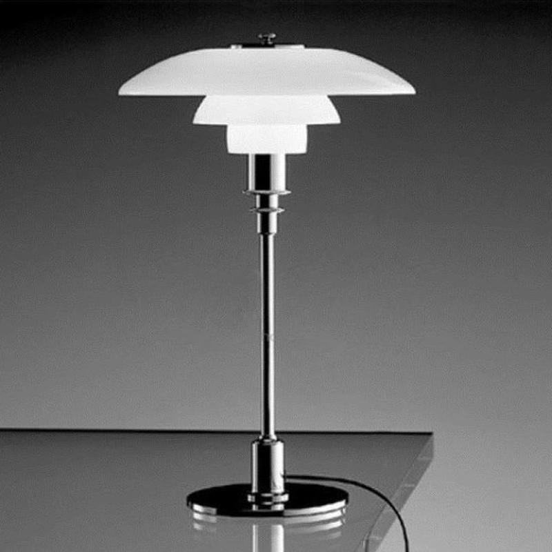 Modern Metal and Glass Table Lamp silver