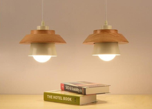 Load image into Gallery viewer, Wood and Metal Layered LED Pendant