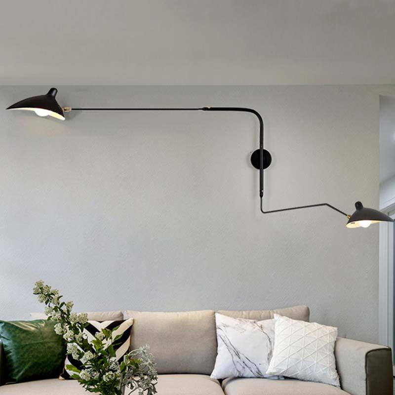 Metal Two Arms Rotating Sconce wall lamp black serge mouille lamp with Two Swing Arm