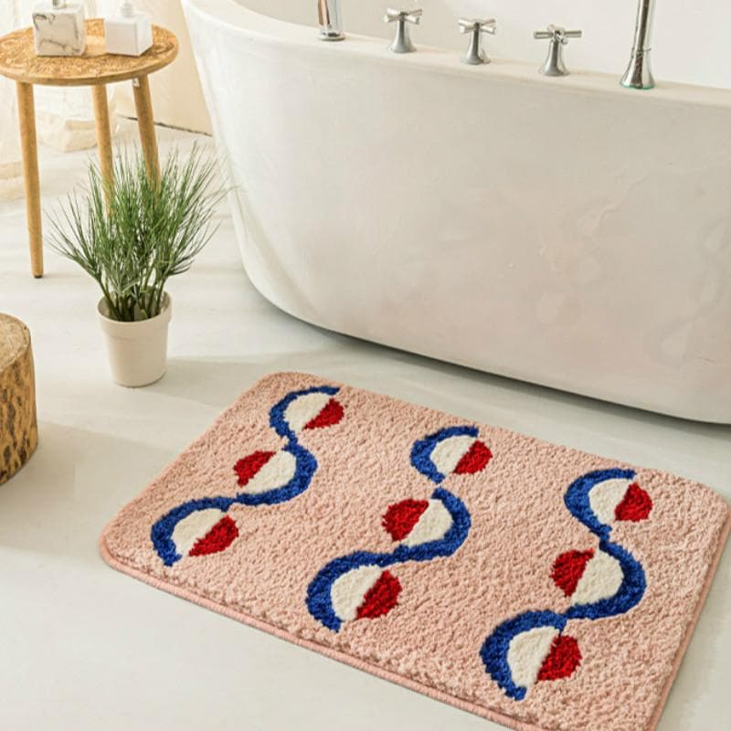 bath mat geometric soft blush blue red