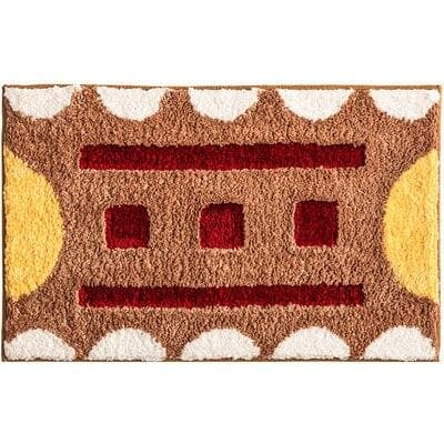 bath mat geometric soft brown yello red