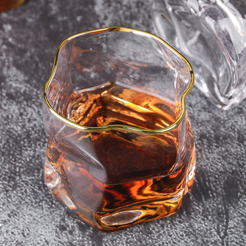 cool Whisky gold trim glass