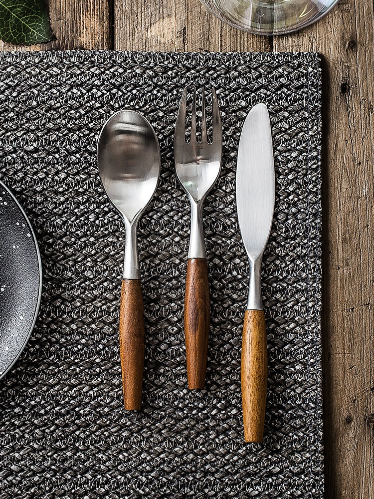 stainless steel with wood handle flatware
