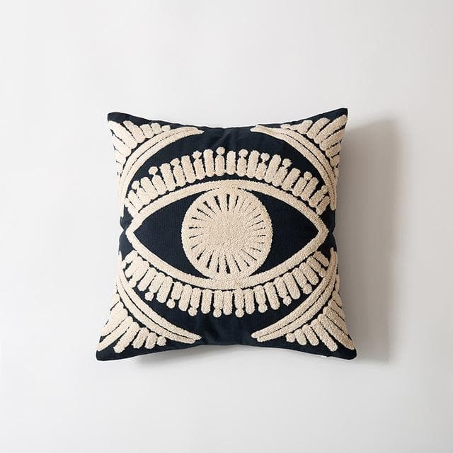 Egyptian Eye Embroidered Pillow Cover 18x18 inch