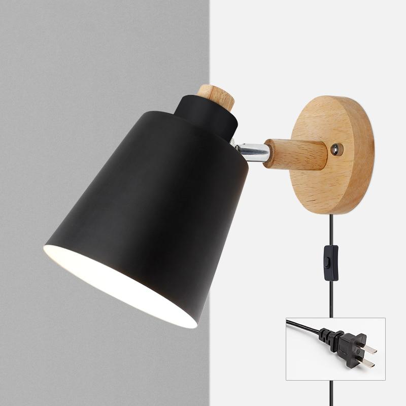 Wood & Metal Reading Lamp with Plug Cord Installation black