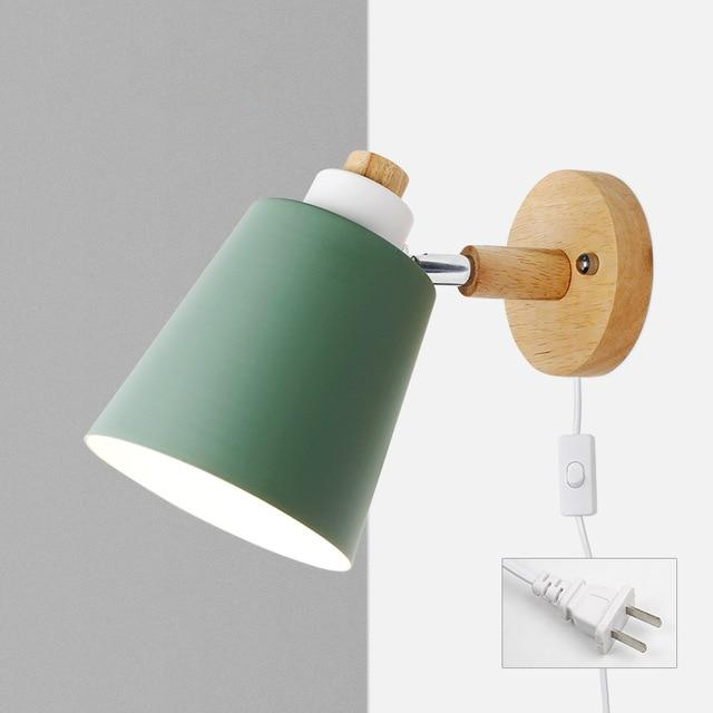 Wood & Metal Reading Lamp with Plug Cord Installation green