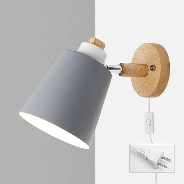 Wood & Metal Reading Lamp with Plug Cord Installation white