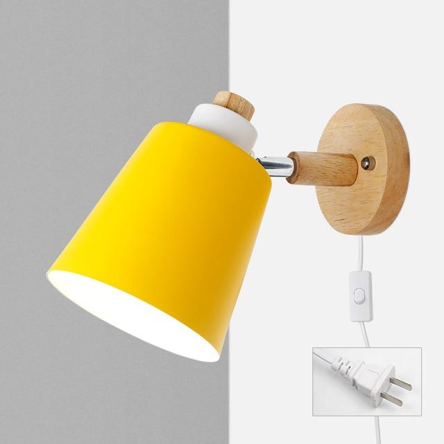 Wood & Metal Reading Lamp with Plug Cord Installation yellow