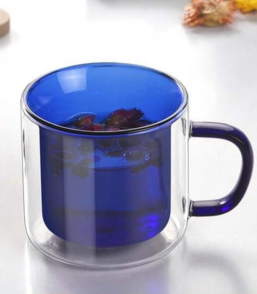 Double Wall Glass Mug blue