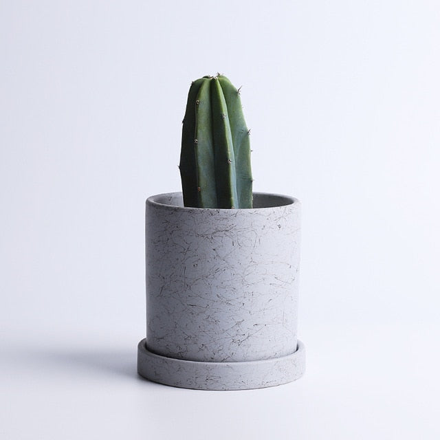 Marble Small Planter with Plate