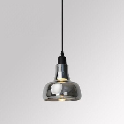 round Smoked Grey Glass Pendant Light