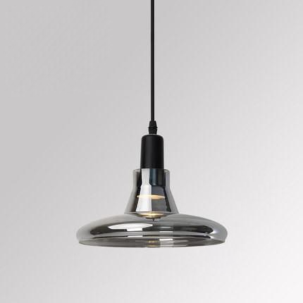 saucer Smoked Grey Glass Pendant Light