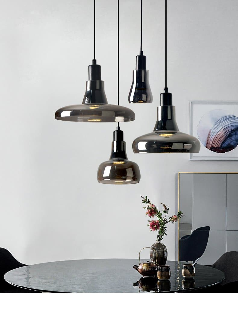 round Smoked Grey Glass Pendant Lights