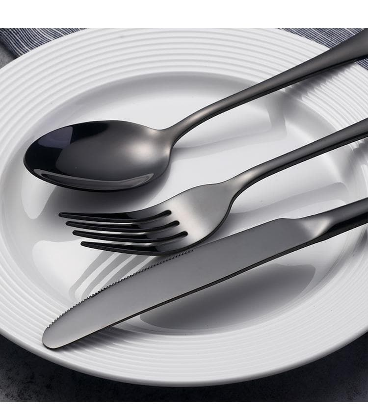 Black High Grade 18/8 304 Stainless Steel 24 Pc Set