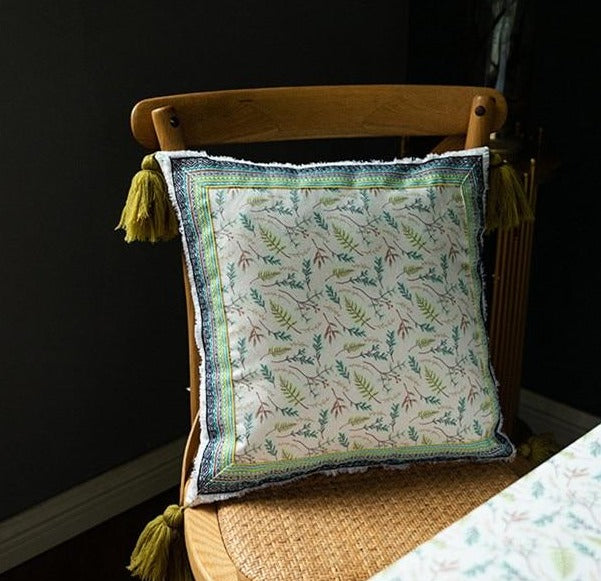 square velvet cloth printed vintage green pattern with tassels cushion cover