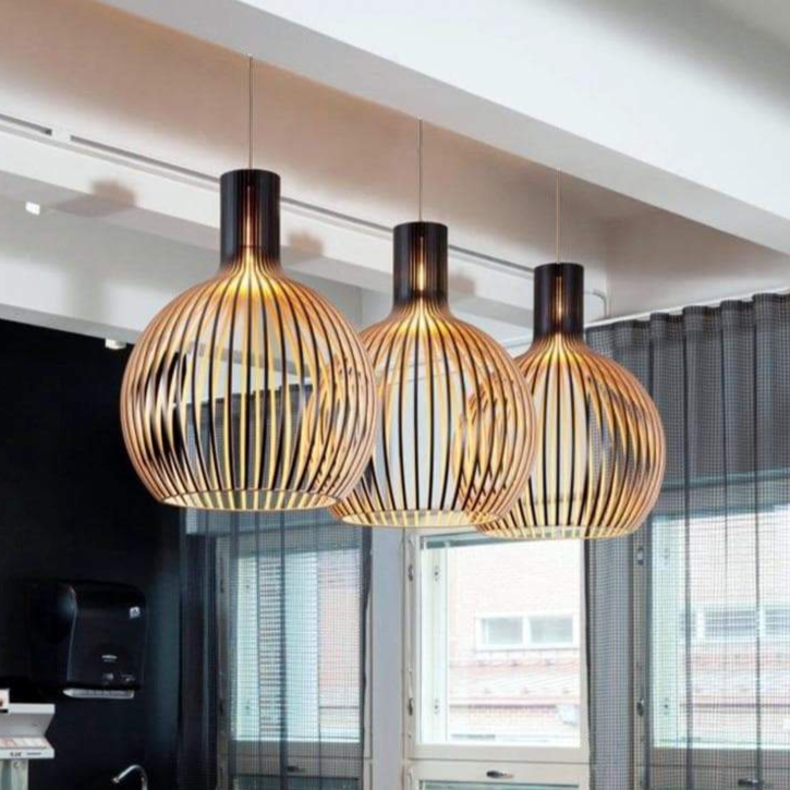 secto octo 4240 pendant black and wood