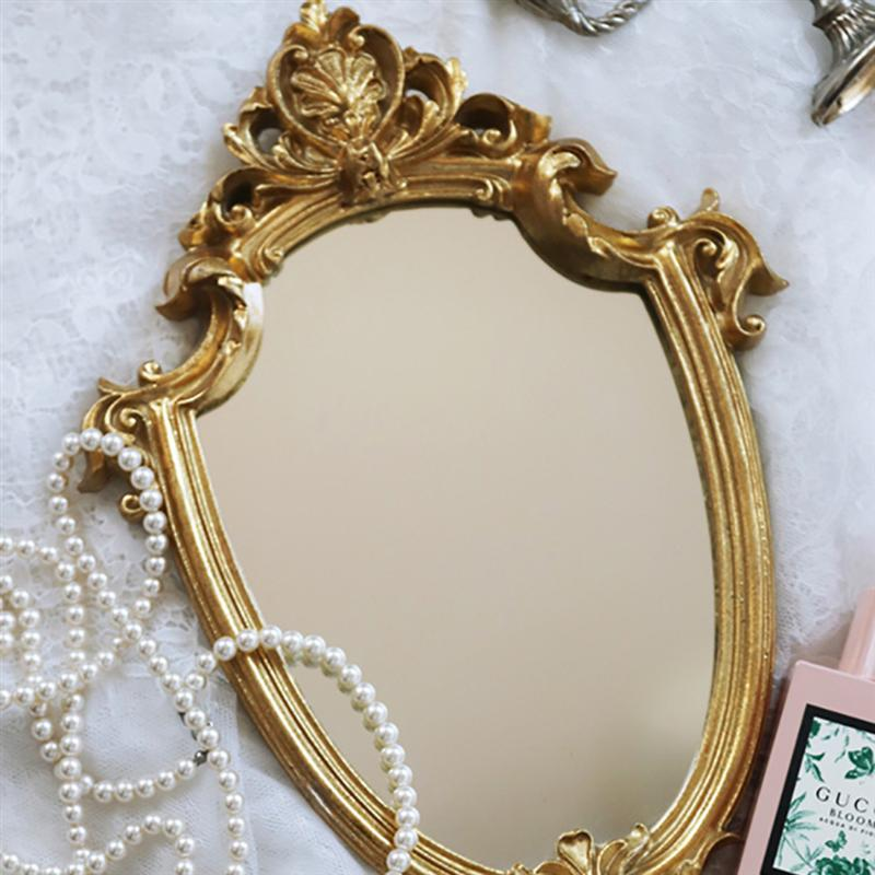 Vintage Mirror Golden Mirror and pearl necklace