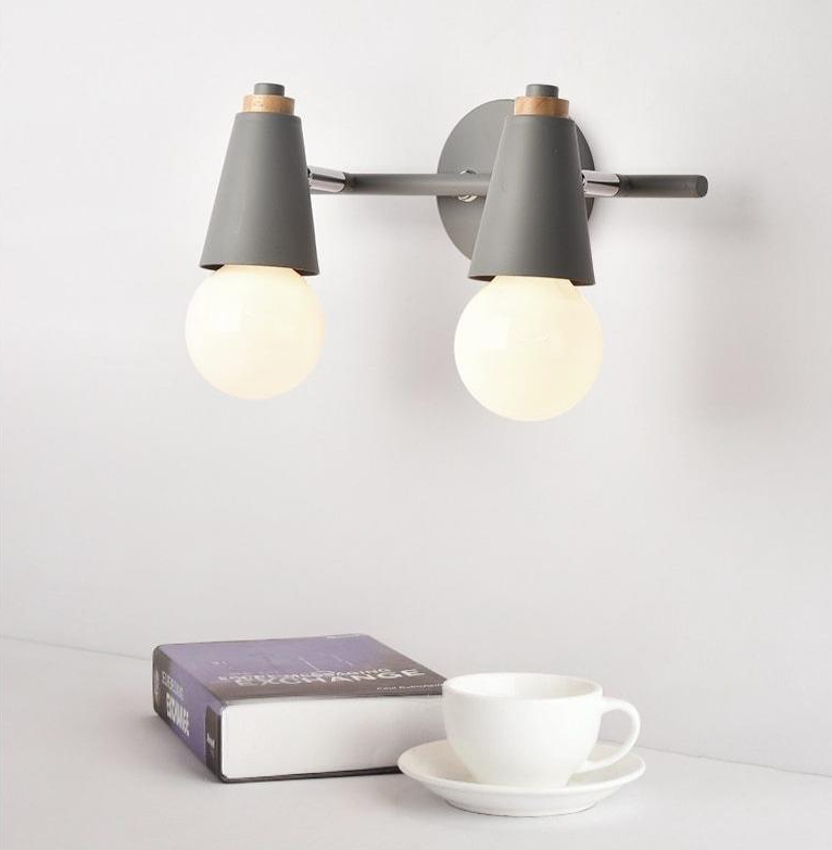 two light wall lamp grey