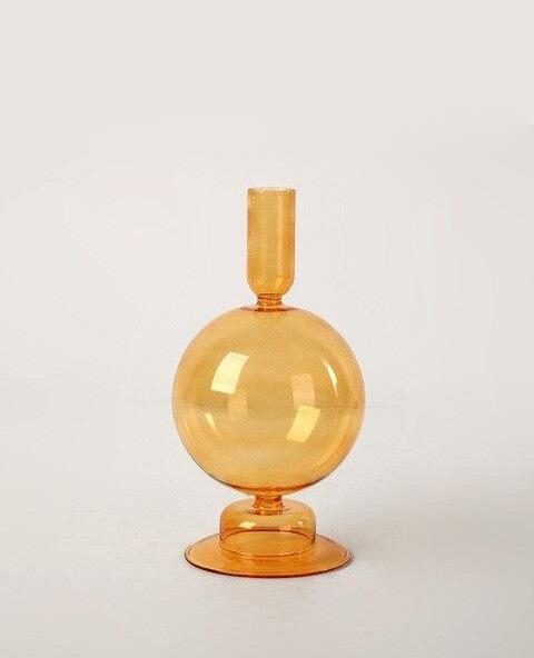 Orange Blown Glass Candle holders