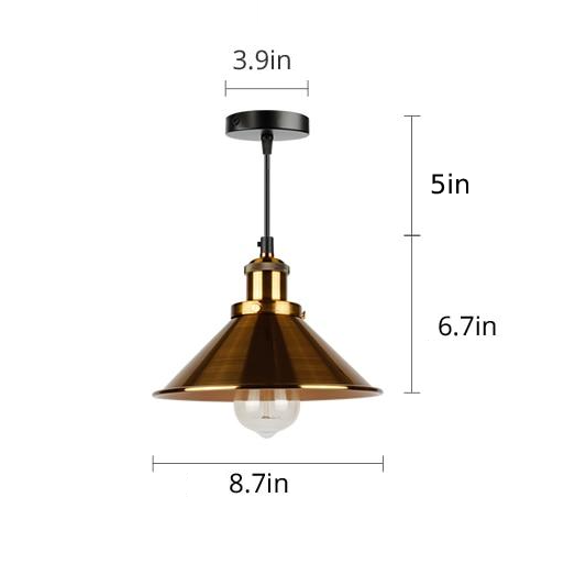 cone painted metal with brushed brass black gold pendant light.