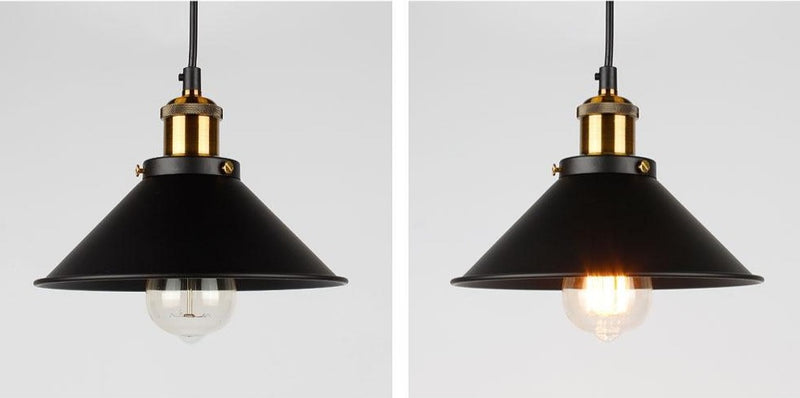 cone painted metal with brushed brass black gold pendant light