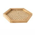 Rattan Cane and Wood Frame Decorative Tray