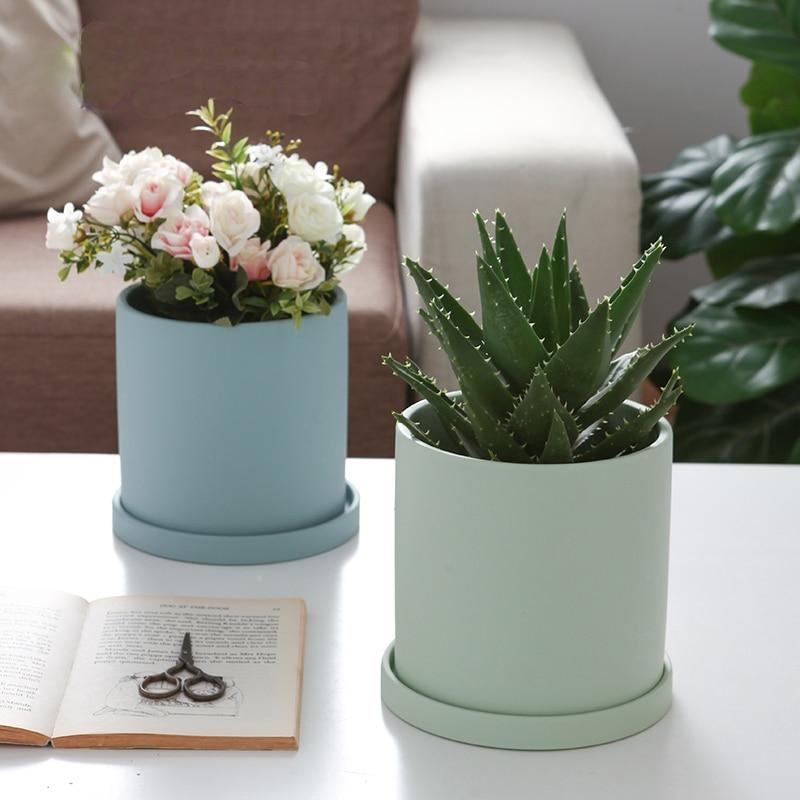 blue ceramic Planter cylinder shape