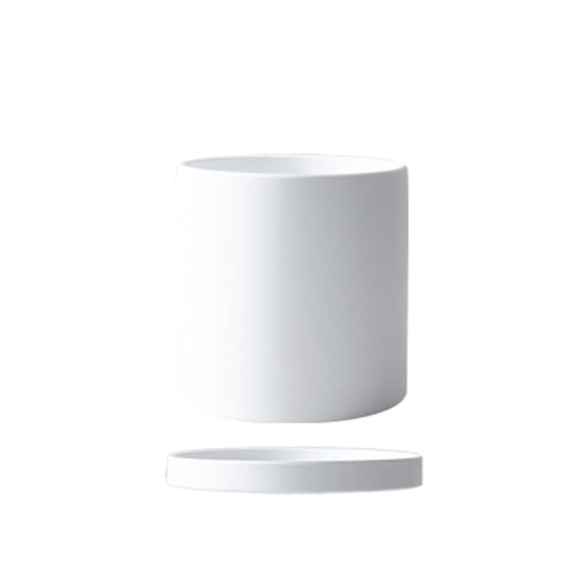 white ceramic Planter cylinder shape