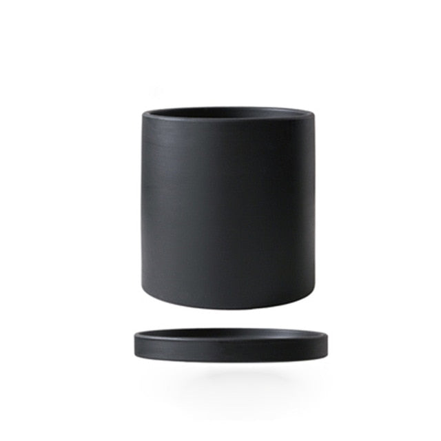 black ceramic Planter cylinder shape