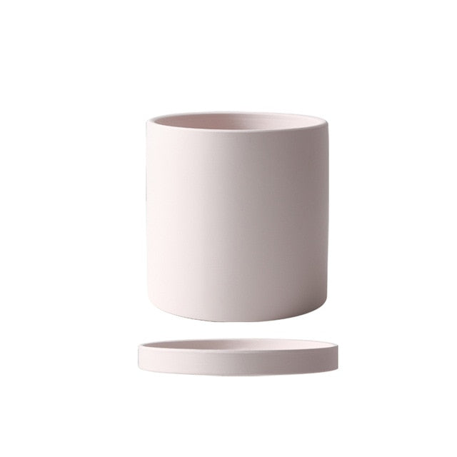 beige ceramic Planter cylinder shape
